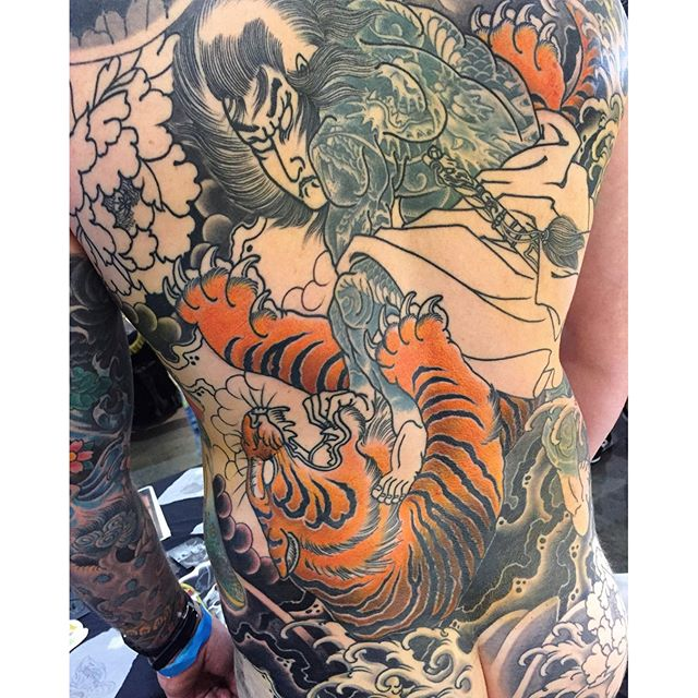 Bit of progress on this piece at the @austattooexpo this weekend. FOR BOOKINGS... w: lighthousetattoo.com.au e: contact@lighthousetattoo.com.au ph: (+61 2) 9316 4565