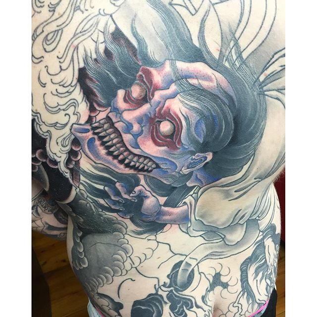 Back piece featuring a vengeful yūrei in progress @lighthouse_tattoo FOR BOOKINGS... w: lighthousetattoo.com.au e: contact@lighthousetattoo.com.au ph: (+61 2) 9316 4565