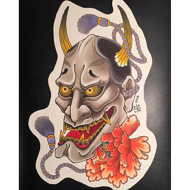 Hannya and peony design available to be tattooed @lighthouse_tattoo . If interested, send enquiries to the email below... FOR BOOKINGS... w: lighthousetattoo.com.au e: contact@lighthousetattoo.com.au ph: (+61 2) 9316 4565