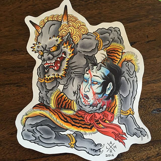 This guys is still available to be tattooed. I've had a great run of designs getting picked up, but this oni cradling a namakubi is still homeless. Hit me up via the email below if you're keen on this design or something similar. He would suit a large panel like front or back. Or, with minor alterations to the positioning of he legs, would work well on any limb as well. @lighthouse_tattoo FOR BOOKINGS... w: lighthousetattoo.com.au e: contact@lighthousetattoo.com.au ph: (+61 2) 9316 4565