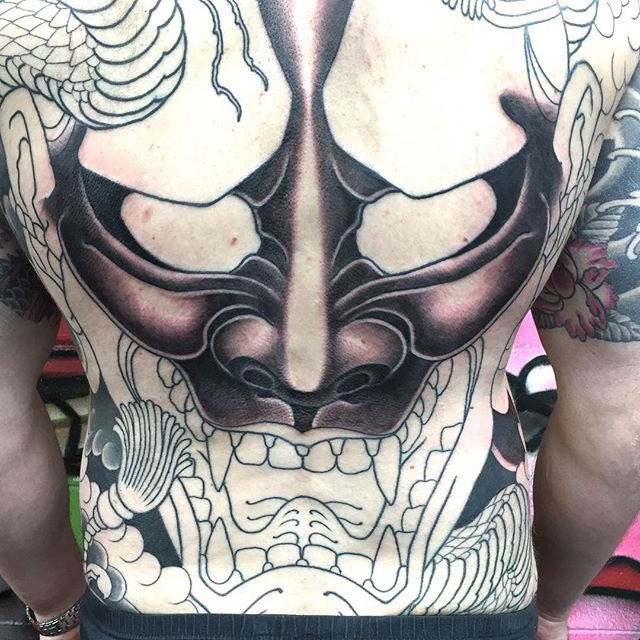 Some progress on this Hannya and snake Japanese full back piece @lighthouse_tattoo FOR BOOKINGS... w: lighthousetattoo.com.au e: contact@lighthousetattoo.com.au ph: (+61 2) 9316 4565
