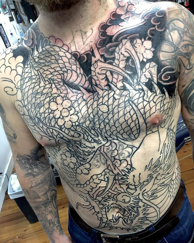 Ruthless cover up piece on the front of this torso. Working over some lasered work. @lighthouse_tattoo FOR BOOKINGS... w: lighthousetattoo.com.au e: contact@lighthousetattoo.com.au ph: (+61 2) 9316 4565
