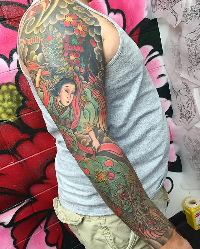 Sleeve complete, featuring a tennyo and dragon @lighthouse_tattoo FOR BOOKINGS w: lighthousetattoo.com.au : contact@lighthousetattoo.com.au ️: (+61 2) 9316 4565 @dragontattoo