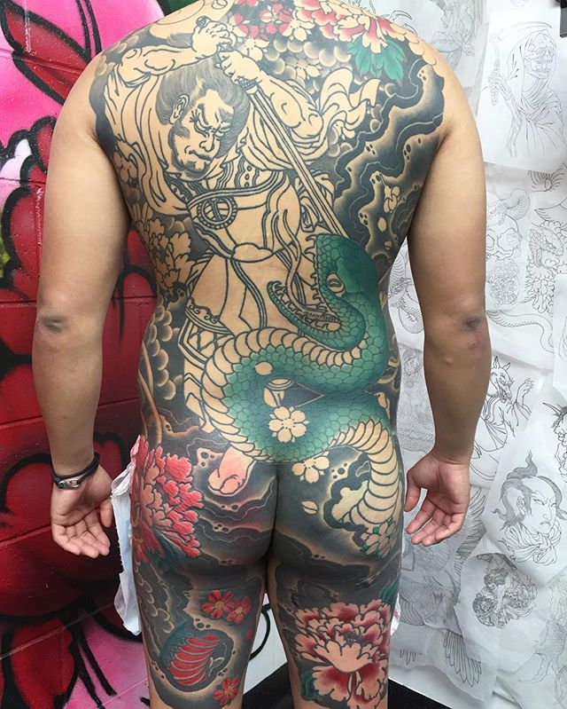 Chipping away at this Japanese back piece @lighthouse_tattoo . I think we're back on the wagon with this one. It's great to do large piece that are heavily referenced from classic pieces by Ukiyo-e masters, such as Kunyoshi in this case.  FOR BOOKINGS w: lighthousetattoo.com.au : contact@lighthousetattoo.com.au ️: (+61 2) 9316 4565