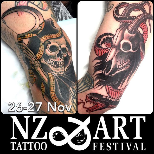 I'm stoked to be going to the @nztattoofestival in New Plymouth, NZ with some of the crew from @lighthouse_tattoo . This is the best convention I've worked at so far, and I am pleased to be doing it again. I still have some spaces left, so hit me up for bookings via email... : mail@alexrusty.com