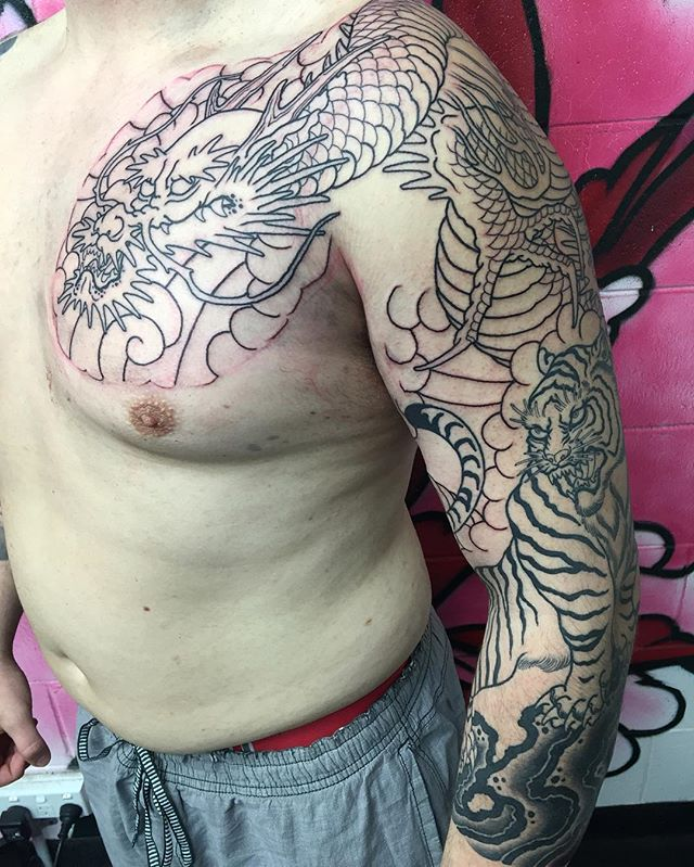 Japanese sleeve and chest panel in progress. @lighthouse_tattoo  FOR BOOKINGS w: lighthousetattoo.com.au : contact@lighthousetattoo.com.au ️: (+61 2) 9316 4565