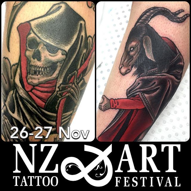 I'm stoked to be going to the @nztattoofestival in New Plymouth, NZ with some of the crew from @lighthouse_tattoo . This is the best convention I've worked at so far, and I am pleased to be doing it again. I still have some space on the Saturday, so hit me up for bookings via email... : mail@alexrusty.com
