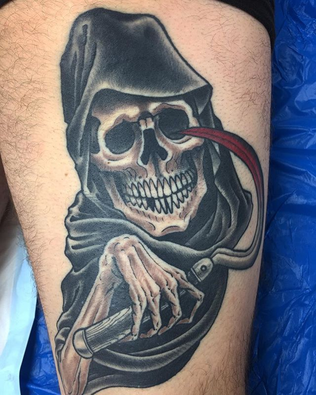 Healed grim reaper in the back of a thigh @lighthouse_tattoo  FOR BOOKINGS w: lighthousetattoo.com.au : contact@lighthousetattoo.com.au ️: (+61 2) 9316 4565