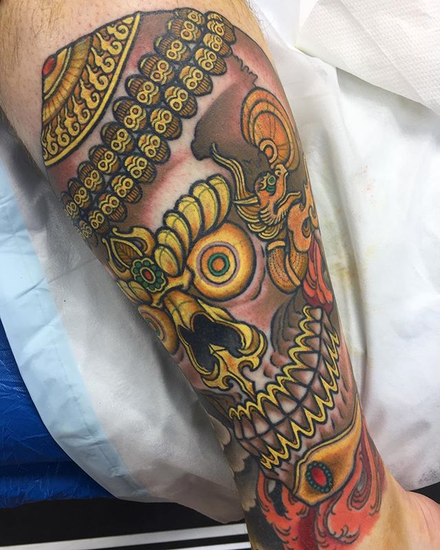 Kapala on the shin @lighthouse_tattoo FOR BOOKINGS w: l