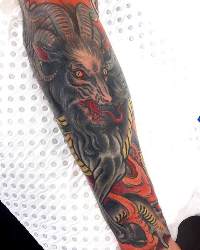 Visions of hell. Goat serpent demon. Sleeve in progress @lighthouse_tattoo  FOR BOOKINGS w: lighthousetattoo.com.au : contact@lighthousetattoo.com.au ️: (+61 2) 9316 4565