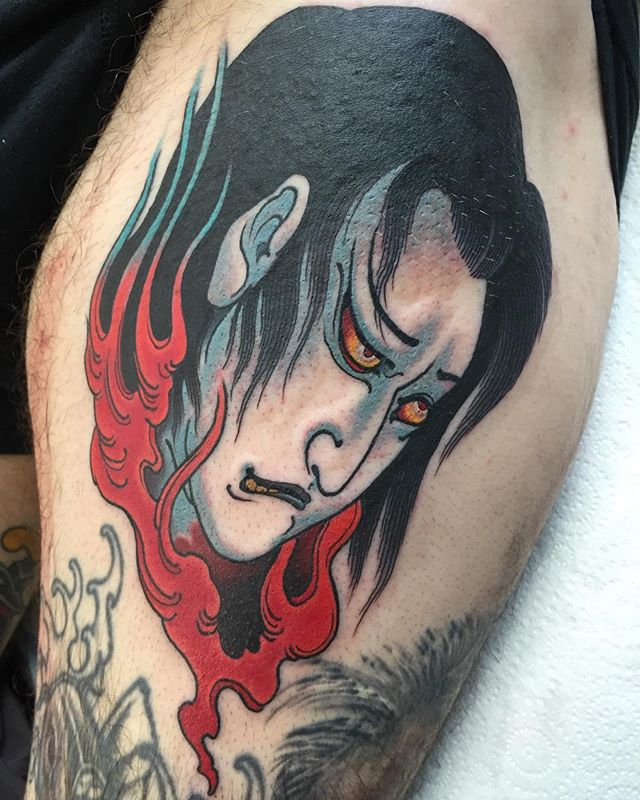 Yūrei on a thigh. Done at @blacktidetattoo_melbourne.