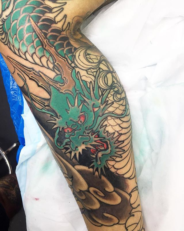 Added a dragon in the gap on this full leg piece @lighthouse_tattoo  FOR BOOKINGS w: lighthousetattoo.com.au : contact@lighthousetattoo.com.au ️: (+61 2) 9316 4565