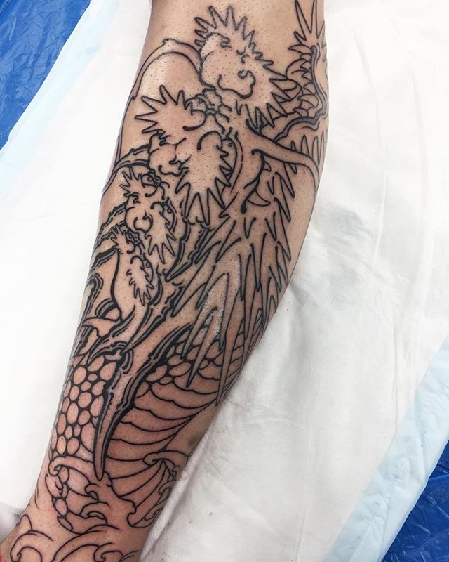 Calf section of this full leg piece in progress @lighthouse_tattoo  FOR BOOKINGS w: lighthousetattoo.com.au : contact@lighthousetattoo.com.au ️: (+61 2) 9316 4565