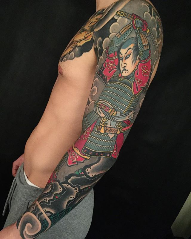 HEALED samurai sleeve @lighthouse_tattoo FOR BOOKINGS w