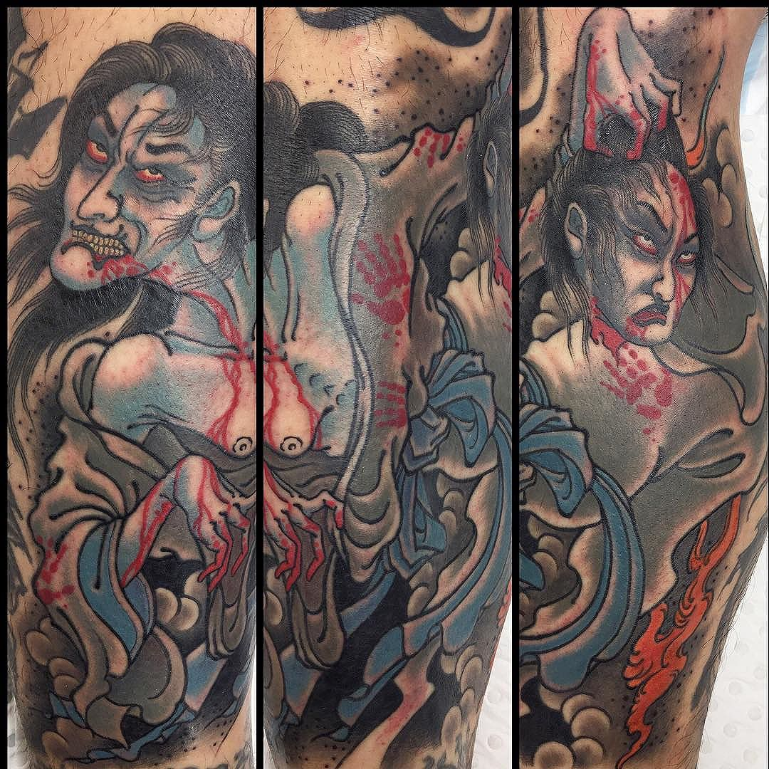All angles on the this yūrei piece @lighthouse_tattoo  FOR BOOKINGS w: lighthousetattoo.com.au : contact@lighthousetattoo.com.au ️: (+61 2) 9316 4565
