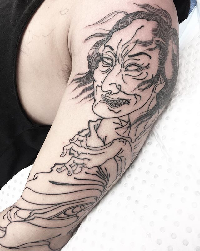 Crazy old yūrei. Started this one yesterday. Keen to get more on this sleeve.  FOR BOOKINGS w: lighthousetattoo.com.au : contact@lighthousetattoo.com.au ️: (+61 2) 9316 4565 @lighthouse_tattoo